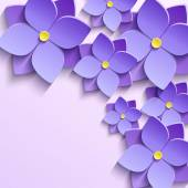 Floral trendy creative background with stylized purple summer 3d flowers violets Beautiful stylish modern wallpaper Greeting or invitation card for wedding birthday and life events Vector illustration