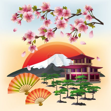 Illustration for Japanese background with sakura blossom - Japanese cherry tree with flying petals, two fans, bonsai, pagoda, mountain, rising red sun - symbol of oriental culture. Beautiful Japanese landscape. Stylish abstract wallpaper. Vector illustration. - Royalty Free Image