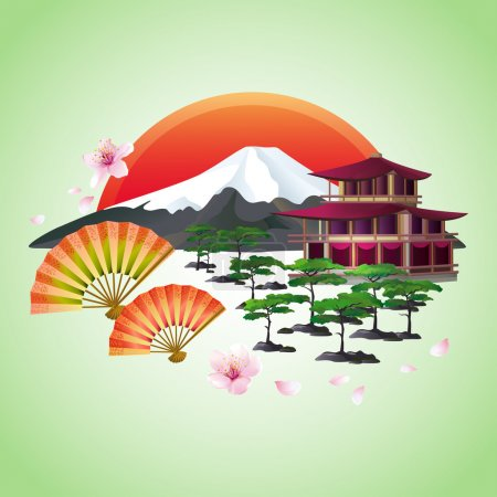 Illustration for Beautiful Japanese background with sakura blossom - Japanese cherry tree with flying petals, fans, bonsai, pagoda, mountain, red rising sun - symbol of oriental culture, isolated over green. Japanese landscape. Stylish abstract wallpaper, vector - Royalty Free Image