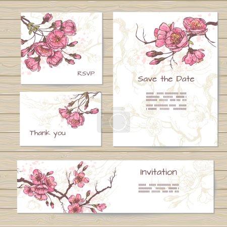 Elegante sakura cards set