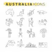 Set of thin line icons  Australian travel theme
