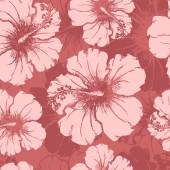 Hand drawn hibiscus flowers clear seamless pattern