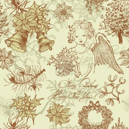 Illustration pour Hand drawn vintage Christmas seamless pattern.  All objects are conveniently grouped  and are easily editable. - image libre de droit
