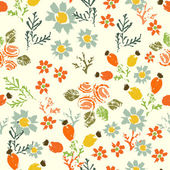 Hand painted textured  forest  flowers and berries seamless patt