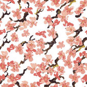 Hand painted  sakura seamless pattern on white background
