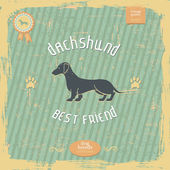 Hand drawn Dachshund vintage typography poster All objects are conveniently grouped and are easily editable Scrapes located on a separate layer Pure stylized silhouette of a dog is easily accessible