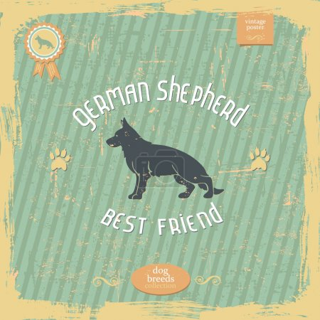 Hand drawn German Shepherd vintage typography poster