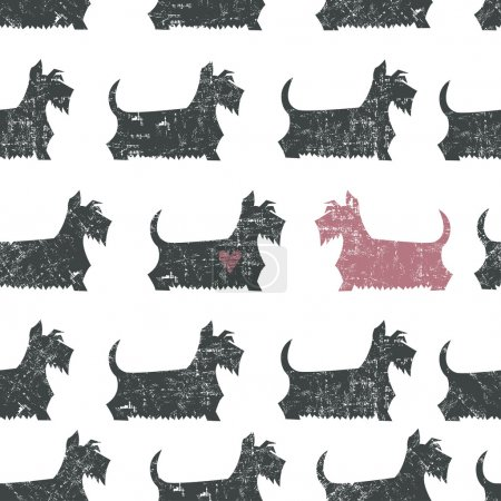 Amusing vector black Scottish Terriers seamless pattern