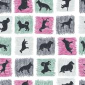 Hand drawn dog breeds silhouettes  seamless pattern