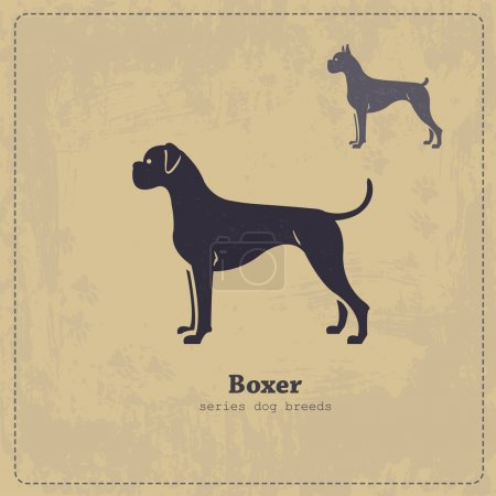 Boxer dog silhouette vintage poster