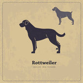 Rottweiler silhouette vintage poster