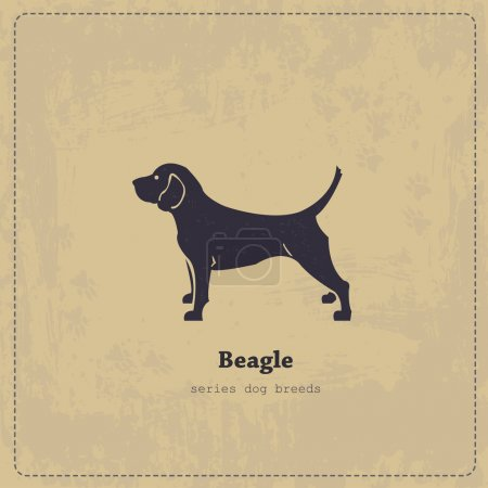 Stylized beagle dog vintage poster