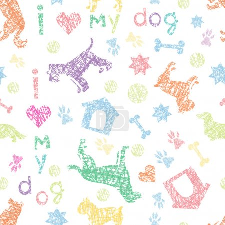 Dogs  light seamless pattern