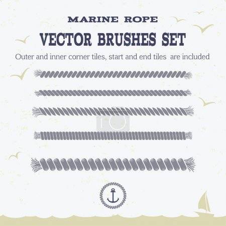 Marine rope style vector pattern brushes