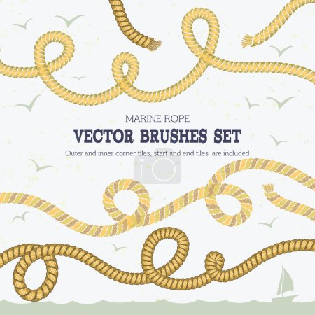 Illustration for Marine rope style vector pattern brushes  with outer and inner corner tiles, end and start tiles, are  located in the Brush panel of this EPS fil - Royalty Free Image