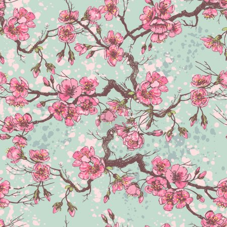 Illustration pour Printemps sakura motif sans couture. Tous les objets sont facilement regroupés et modifiables . - image libre de droit