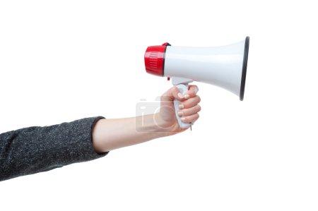 Hand holding a megaphone.