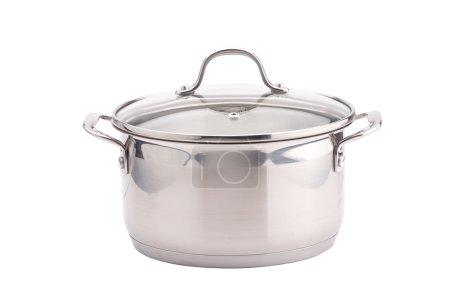 Photo pour Pot de cuisson brillant argent isolé sur fond blanc . - image libre de droit