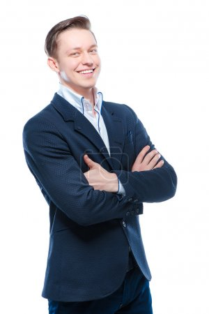 Photo for Youth and confidence. Handsome young business man with crossed hands looking at camera. Isolated on white background - Royalty Free Image