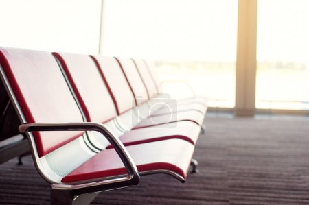 Photo for Empty airport terminal waiting area with chairs. - Royalty Free Image