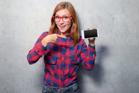 Woman pointing smartphone