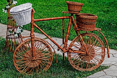 Decorative bike made from twigs