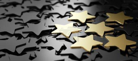 Photo pour Six étoiles dorées sur fond noir. Illustration 3D du service client de haute qualité - image libre de droit