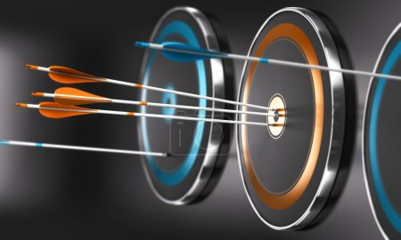 Photo for 3D illustration of targets ans arrow with focus on three orange arrows in the center of one target - Royalty Free Image
