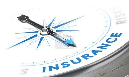 Photo pour Concept de fond d'assurance. Boussole image aiguille pointant un mot bleu, décoratif adapté pour l'angle en bas à gauche d'une page. - image libre de droit