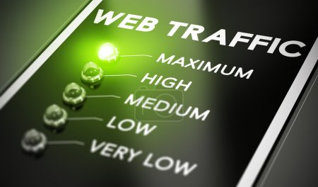 Photo for Web traffic concept, Illustration of seo over black background with green light and blur effect. - Royalty Free Image