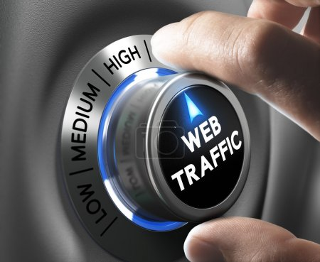 Photo pour Web traffic button pointing high position with two fingers, blue and grey tones, Conceptual image for internet seo. - image libre de droit