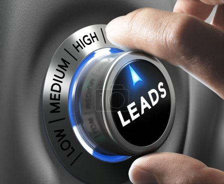 Foto de Leads button pointing  high position with two fingers, blue and grey tones, Conceptual image for increasing sales lead. - Imagen libre de derechos