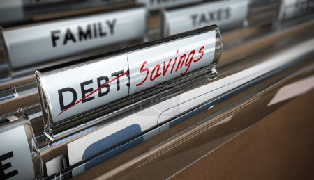 Photo for File tab with focus on savings. Conceptual image for illustration of debt vs savings - Royalty Free Image