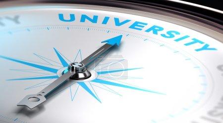 Photo pour Choisir un concept universitaire. Image 3D avec une boussole avec aiguille pointant le mot université. Tons bleus et blancs . - image libre de droit