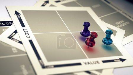 Photo pour Coût marketing et matrice de valeur avec broches et effet flou. Concept de ROI ou produit de grande valeur . - image libre de droit