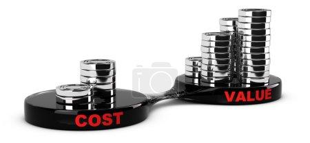 Photo pour Coût et valeur Concept, piles de pièces abstraites. Image conceptuelle pour l'analyse marketing . - image libre de droit