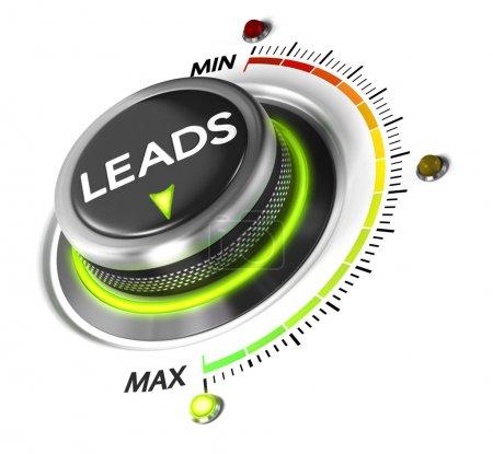 Photo pour Bouton interrupteur placé sur fond blanc maximum et lumière verte. Image conceptuelle pour l'illustration de génération de leads . - image libre de droit