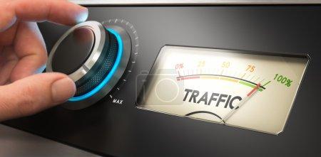 Photo pour Tournage manuel d'un bouton au maximum, Image conceptuelle pour illustrer l'analyse du public et l'amélioration du trafic sur le site . - image libre de droit