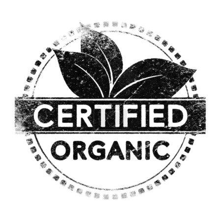 Photo pour Étiquette certifiée biologique réaliste, silhouette noire sur blanc pour masque - image libre de droit