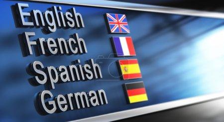 Photo pour Anglais, Français, espagnol et allemand écrit sur une façade de bâtiment. Image pour sémaphoriques d'école de langue - image libre de droit