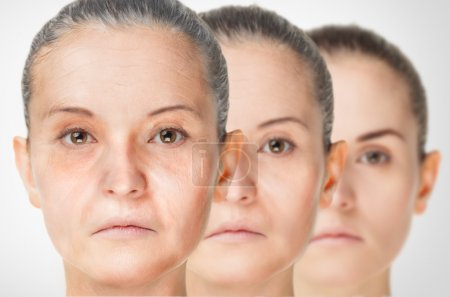 Photo for Aging process, rejuvenation anti-aging skin procedures old and young concept - Royalty Free Image