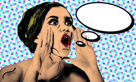 Pop art comic style woman with speech bubble