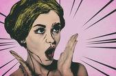 Pop-art žena comic-styl, retro plakátu