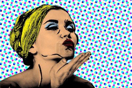 Photo pour Pop art bande dessinée femme, affiche vintage - image libre de droit
