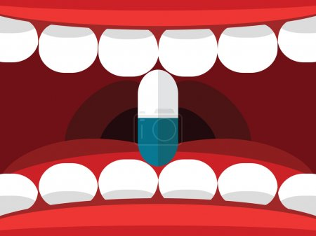 Medical pill tablet in open mouth vector illustration