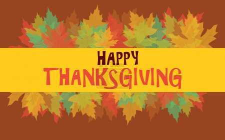 Illustration for Happy Thanksgiving with colorful autumn leaves, vector card - Royalty Free Image