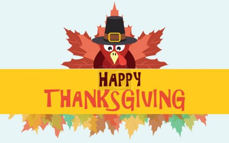 Illustration for Happy thanksgiving turkey with autumn leaves, vector card - Royalty Free Image