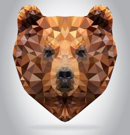 Illustration pour Vecteur tête de grizzli isolé, illustration géométrique moderne - image libre de droit