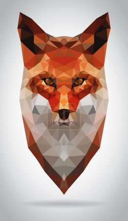 Illustration for Fox head vector isolated, geometric modern illustration - Royalty Free Image