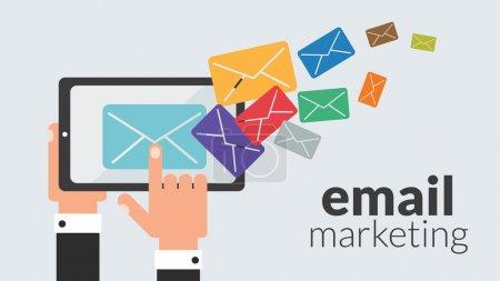 Illustration pour Ordinateur tablette d'affaires avec email marketing. Concept vectoriel pour la publicité en ligne - image libre de droit